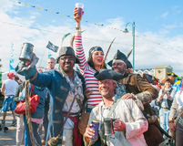 Pirates on the Prom Event 2014. Swarms of unruly pirates took  over a Cornish town ahead of a  Guinness world record attempt that took place in Penzance Cornwall Royalty Free Stock Photo