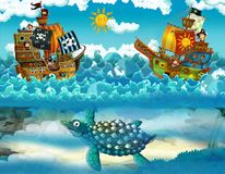 Pirates on the sea - battle - with monster underwater Royalty Free Stock Images