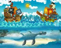 Pirates on the sea - battle - with monster underwater Royalty Free Stock Photos
