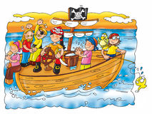 The pirates in the sea on the caravel, fishing. Stock Image