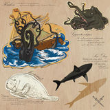 Pirates - Sea Monsters. Hand drawn and Mixed media Royalty Free Stock Images