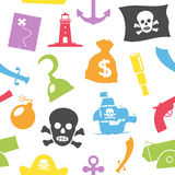 Pirates Seamless Pattern. An abstract seamless pattern with colourful pirate icons on white background. Useful also as design element for texture, pattern or Royalty Free Stock Photography