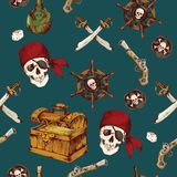 Pirates seamless pattern. Hand drawn colored pirates seamless pattern with dices skull saber vector illustration Stock Photography