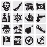 Pirates set. Vector black pirates icons set on gray Stock Photo