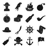 Pirates set icons in black style. Big collection of pirates vector symbol stock illustration Stock Image