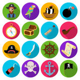 Pirates set icons in flat style. Big collection of pirates vector symbol stock illustration Stock Photos