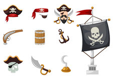 Pirates set. Illustration of isolated pirates set vector Royalty Free Stock Images