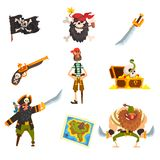 Pirates set, pirate adventures accessories, black flag with ckull and bones, sabre, treasure map, chest vector. Illustration isolated on a white background stock illustration