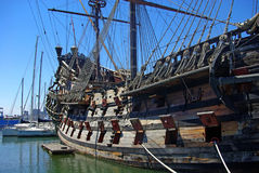 Pirates' Ship. On the bank of Mediterranean Sea Stock Photography