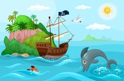 Pirates ship. Vector illustration of a pirate ship Royalty Free Stock Image