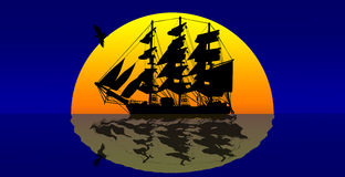 Pirates ship against sunset. Pirates ship against sunset in the ocean Stock Photo