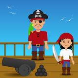 Pirates on the ship. Pirates on the ship with a cannon Royalty Free Stock Photos