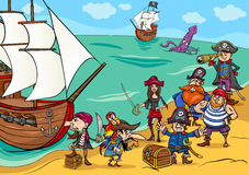 Pirates with ship cartoon Royalty Free Stock Images
