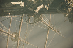 Pirates ship reflection in water, retro photography. Royalty Free Stock Image