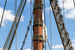 Pirates Ship or Sailing Boat. Close up view of pirate ship, sailing boat on cloudy background Stock Photography