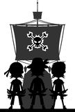 Pirates and Ship in Silhouette Stock Photo