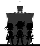 Pirates and Ship in Silhouette Stock Photos