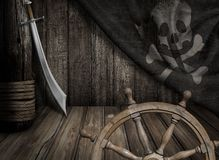 Pirates ship steering wheel with old jolly roger. Flag scene Royalty Free Stock Image