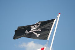 Pirates skull and crossed bones flag Royalty Free Stock Images