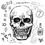Pirates skull hand drawn  set. Isolated piratical adventure attributes: key and rum, mysterious symbols. Runes Stock Photos