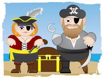 Pirates stand on beach. Male and female together with treasure chest near ocean Stock Photo