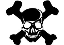 Pirates symbol. Black silhouette of pirates symbol skull with bones Royalty Free Stock Images