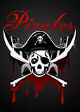 Pirates theme with skull and swords Royalty Free Stock Photography