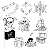 Pirates themed drawings by hand. Pirate symbols-swords, treasure chest, skull and crossbones, Davy Jones, octopus stock illustration