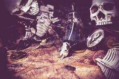 Pirates and treasure. Explore and columbus royalty free stock photo