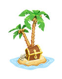 Pirates treasure island with chest and palms. Royalty Free Stock Photography