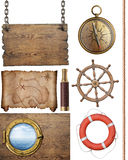 Pirates treasure map  and other nautical objects 3d illustration isolated. Nautical objects such as compass, steering wheel, signboard, porthole, pirates map Royalty Free Stock Images