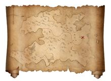 Pirates old treasure map scroll isolated on white royalty free illustration