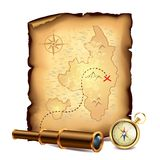 Pirates treasure map with spyglass and compass Stock Images