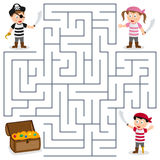 Pirates & Treasure Maze for Kids stock illustration