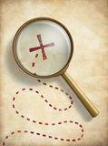 Pirates treasure old map with marked location and Royalty Free Stock Image