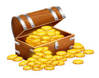 Pirates trunk chest full of gold coins treasures. Eps10  illustration. Isolated on white background Stock Image