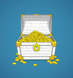 Pirates trunk chest full of gold coins treasures Royalty Free Stock Image