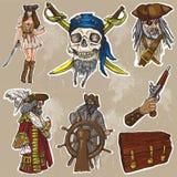 Pirates - un paquet coloré tiré par la main de vecteur aucun de gare Images libres de droits
