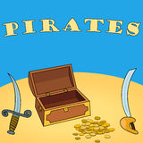 Pirates wallpaper with chest, dagger, sword, coin. Vector Pirates wallpaper with chest, dagger, sword, coin Stock Photo