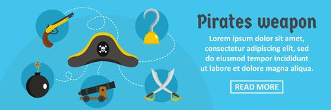 Pirates weapon banner horizontal concept. Flat illustration of pirates weapon banner horizontal vector concept for web design Royalty Free Stock Images