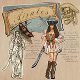 Pirates - Women. Hand drawn and Mixed media Royalty Free Stock Photo