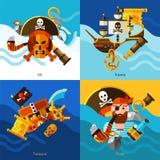 Pirates 2x2 Design Concept Set Stock Photo