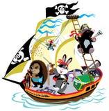 Pirateship de bande dessinée illustration libre de droits