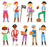 Piratez l'homme ou la femme piratic de boucanier de caractère de vecteur en piratant le costume dans le chapeau avec l'ensemble d illustration stock