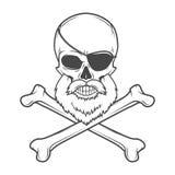Piratez le crâne avec la barbe, observez la correction et avez croisé Image stock