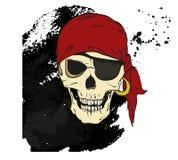 Piratez le crâne avec la correction d'oeil sur le fond noir Photographie stock libre de droits