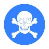 Piratez le crâne et l'icône d'os croisés dans le style noir d'isolement sur le fond blanc Pirate l'illustration courante de vecte Image stock