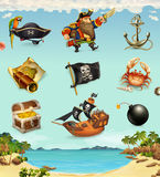 Pirati del mare, carattere divertente ed oggetti Fotografia Stock
