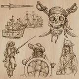 Pirati (no 5) - un pacchetto disegnato a mano di vettore Immagini Stock