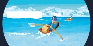Pirati sulla barca Fotografia Stock